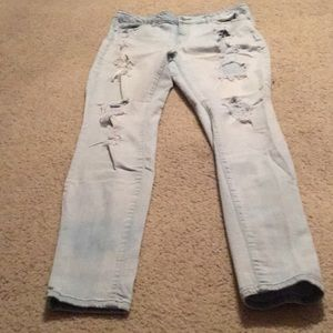 Light blue, ripped jeans